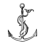 Anchor with Dolphin twisted around it.